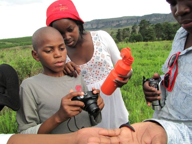 Sihle photographs a songololo.RES
