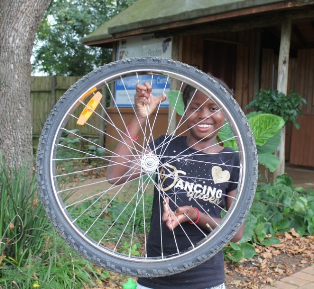 I took my wheels off to learn how to change or fix my tube if I get a puncture!