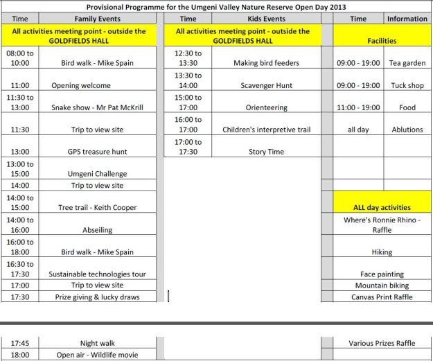 uv open day programme