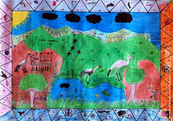 This delightful picture by the learners of Gartmore Primary School depicts the 3 crane species in an agricultural environment. A common sighting for most of the children.