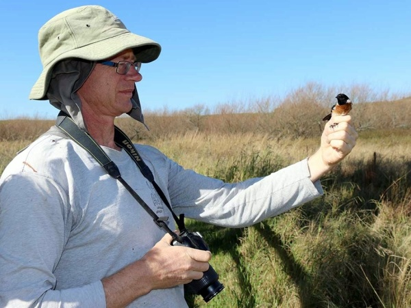 Dieter with an African Stonechat