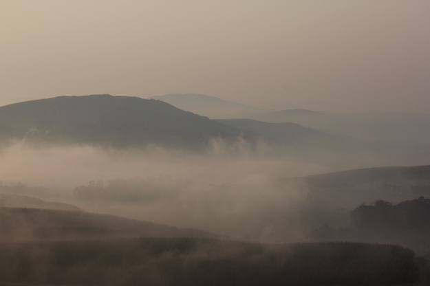 Soft misty morning in the valley below.