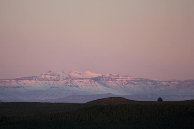 Snow on the Drakensberg mountains