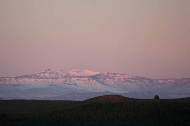 Snow on the Drakensberg mountains